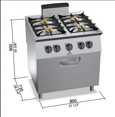Cocina Bertos con horno a gas Mod.SG7F4+FG