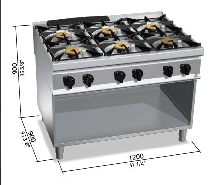 Cocina a gas Bertos con mueble Mod.SG9F6MPS