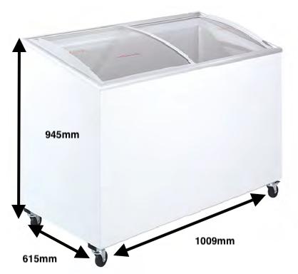 Arcón congelador PECOMARK CRISTAL TAPA CURVA 300