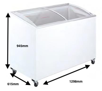 Arcon congelador PECOMARK CRISTAL TAPA CURVA 400