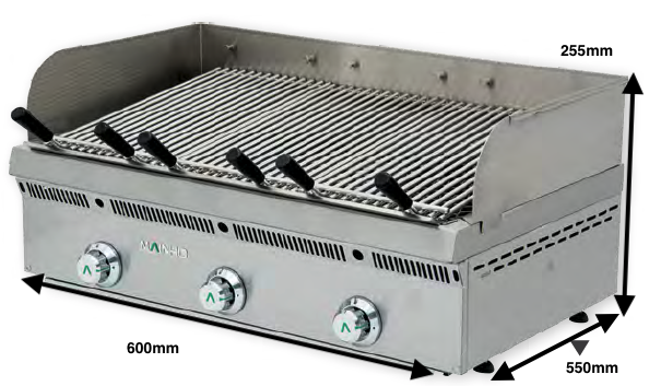 Brasa gas Mainho Serie Vasca Inox Mod.PBV-60