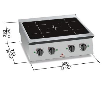 Cocina Bertos eléctrica de inducción Mod.SE7P4B/IND
