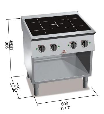 Cocina eléctrica Bertos de inducción con mueble Mod.SE7P4M/IND