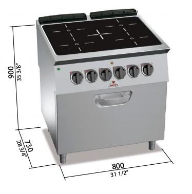 Cocina eléctrica Bertos con horno eléctrico 1/1GN Mod.SE7P4/VTR+FE
