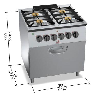 Cocina a gas Bertos con horno eléctrico 2/1 GN Mod.SG7F4+FE