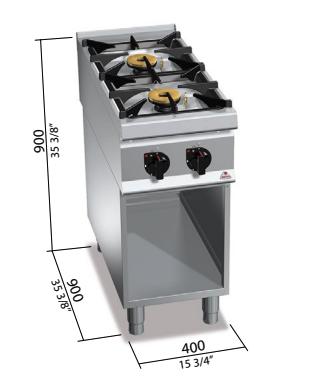 Cocina de gas Bertos con mueble Mod.SG9F2MPS