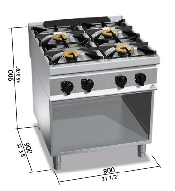 Cocina a gas Bertos con mueble Mod.SG9F4MPS