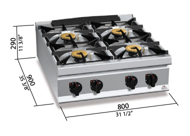 Cocina a gas Bertos Mod.LXG9F4PS