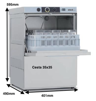 Lavavasos Colged STEELTECH 33-01 D con dosificador de detergente y bomba desague